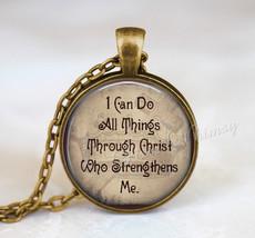 BIBLE Verse Necklace, Bible Verse Pendant, Bible Scripture Jewelry, I Ca... - $9.95