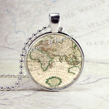 WORLD MAP Necklace, World Traveler,  Vintage World Map Necklace, World Map Penda - $12.95