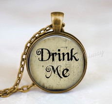 Alice In Wonderland Necklace, Alice In Wonderland Pendant, Drink Me, Alice In Wo - $12.95