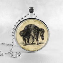 CAT Necklace, Cat Pendant, Hissing Cat, Fright Cat, Scaredy Cat, Halloween Neckl - $12.95