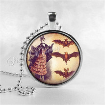 BAT Necklace, Bat Girl Necklace, Bat Pendant, Bat Jewelry, Glass Art Pendant Cha - $12.95