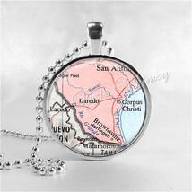 TEXAS Map Necklace, Texas Map Pendant, Brownsville, Laredo, Corpus Chris... - $12.95