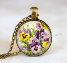 PANSY Necklace, Pansy Pendant, Pansy Jewelry, Pansy Keychain, Flower Nec... - $12.95