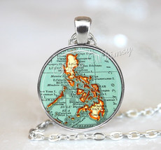 PHILIPPINES MAP Necklace, Philippines Pendant, Philippines Map Pendant, ... - $9.95