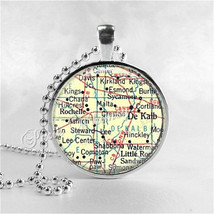 ILLINOIS MAP Pendant, DeKalb, Rochelle, Sycamore,  Illinois Map Necklace... - $12.95