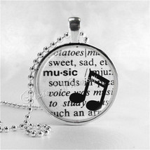 MUSIC Necklace, Music Pendant, Music Jewelry, Word Definition, Musical N... - $12.95