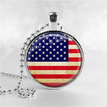 AMERICAN FLAG Necklace, United States Flag Necklace, USA Flag Pendant, G... - $9.95