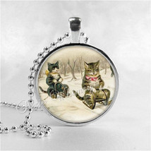 CATS ON SLEDS Necklace, Cat Necklace, Cat Jewelry, Cat Pendant, Cat Char... - $12.95