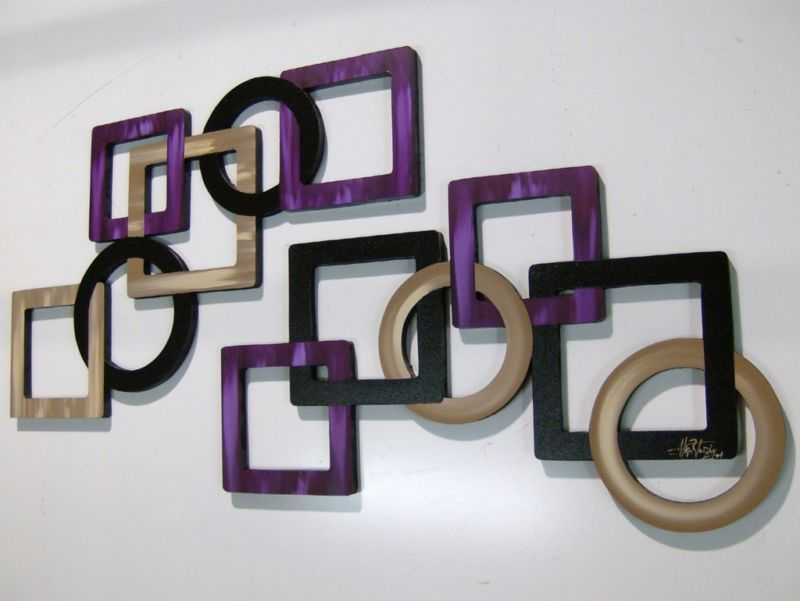 2pc Luxurious LARGE Purple Passion Geometric Square Wood Wall Sculpture Hangings