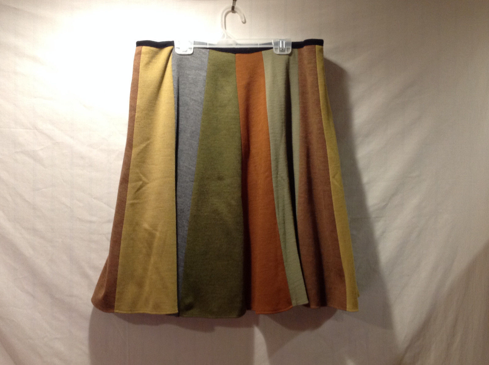No Tags Women's Size XL Skirt Vertical Stripe 70s Earth Tone Colors Mustard Etc.