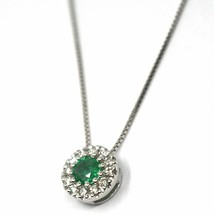 18K WHITE GOLD NECKLACE, FLOWER PENDANT, ROUND EMERALD WITH DIAMONDS FRAME image 2