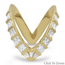 "18 Karat Gold Plated Sterling Silver CZ ""V"" Ring"