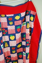 Vintage Fabric Tablecloth Mushroom & Fruit 1960s 1970s mod retro funky 4... - $24.74