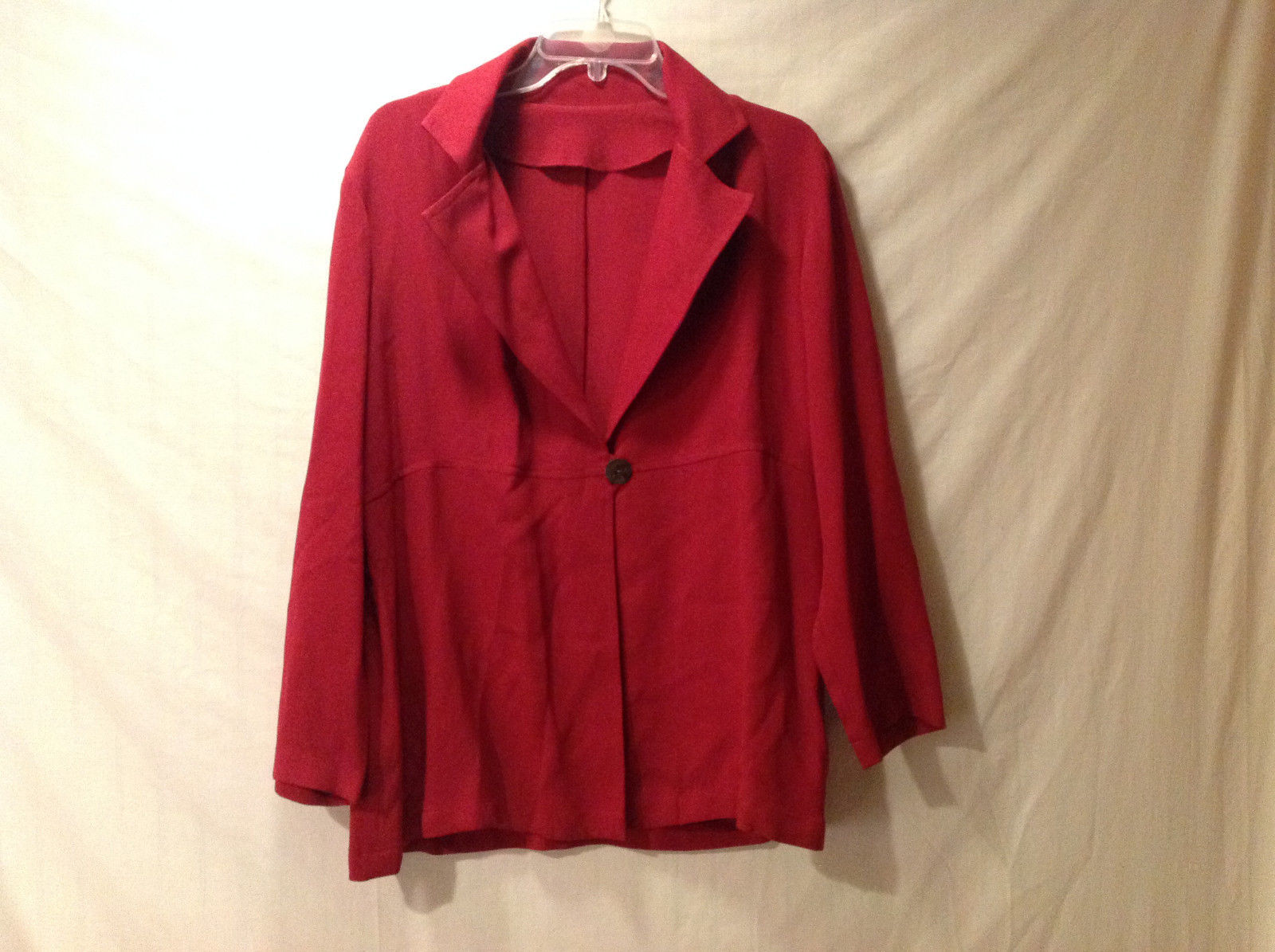 No Tags Women's Size 20W or 22W Long Blazer Coat Crimson Red 1 Button Closure