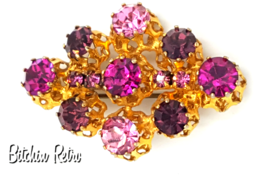 Austrian Crystal Vintage Brooch with Amazing Pink and Purple Crystals - $19.00