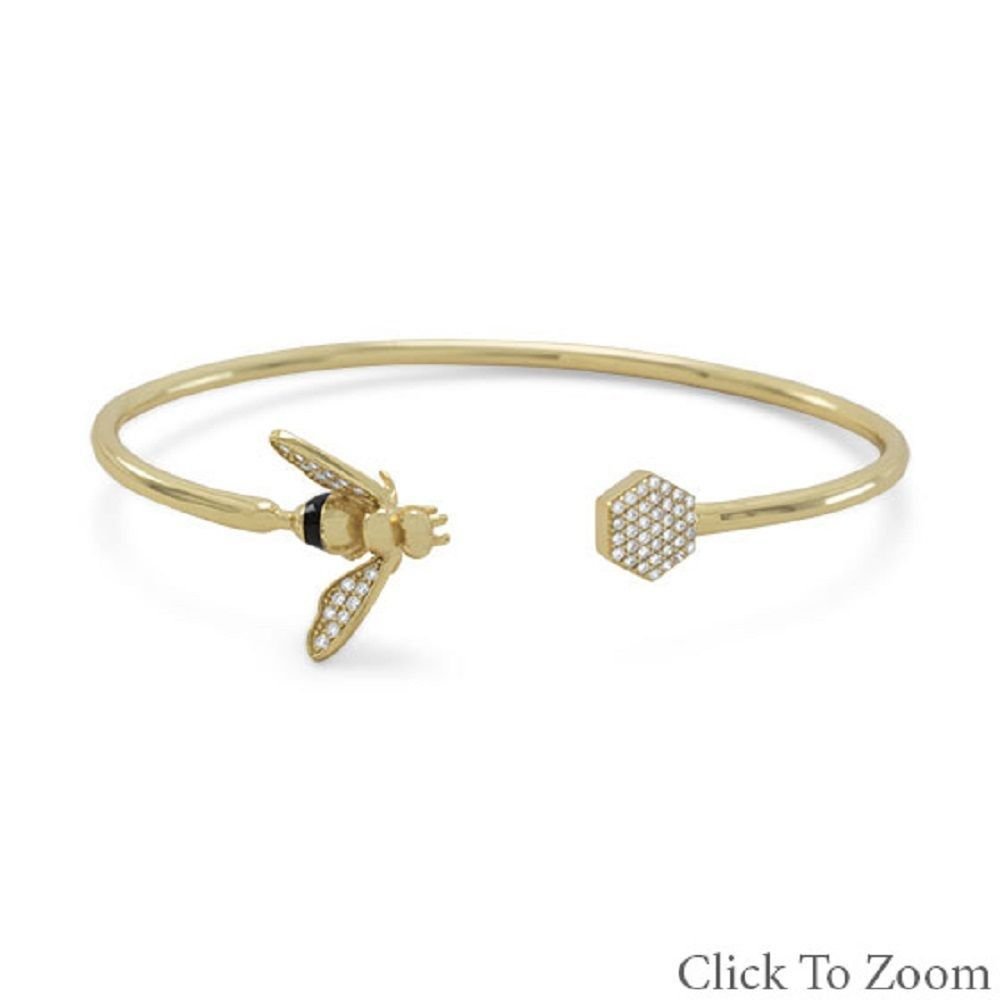14 Karat Gold Plated Sterling Silver and Signity CZ Honey Bee Flex Cuff