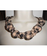 Fabric Knot Statement Necklace - Black and Cream Homespun Check - $13.00