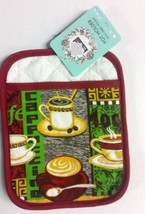 "1 Rare Jumbo Printed Kitchen Pot Holder with Terry Pocket (7"" x 9""), COF... - $6.92"