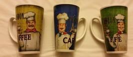 Rare 3 pc. Set of Fat Chef 16 oz. COFFEE Latte ... - $13.99