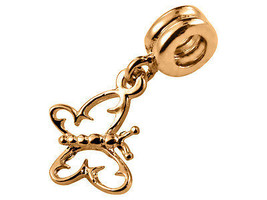 10K Yellow GOLD Handmade Butterfly Dangle Charm Fits EUROPEAN BRACELETS - $79.48