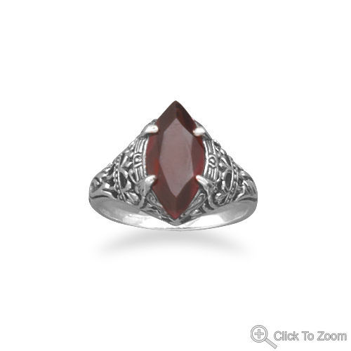 Oxidized vintage style ring with marquis blood red garnet Sterling Silver