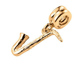 10 K Yellow Gold Handmade Saxophone Dangle Charm Fits Europ EAN Bracelets - $132.17