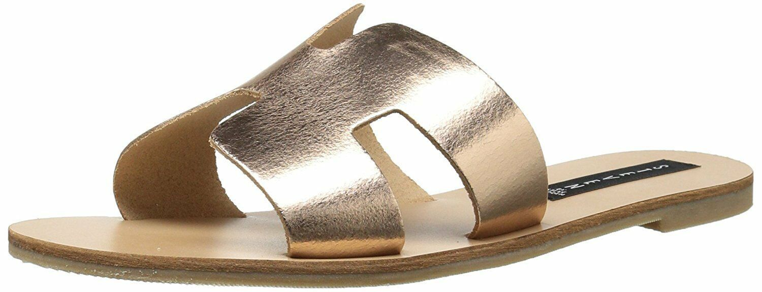 Steven by Steve Madden Greece Flat Sandals Slides Rose Gold Leather Size 8.0
