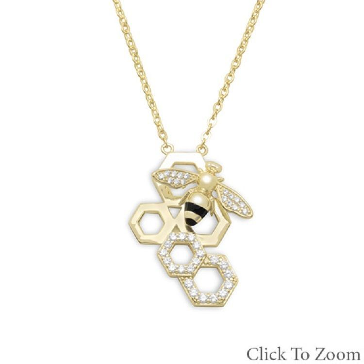 14 Karat Gold Plated Sterling Silver w  Signity CZ Bee w Honeycomb Necklace