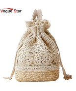 Awstring straw beach bags floral pattern handmade beach bucket bag summer women double thumbtall