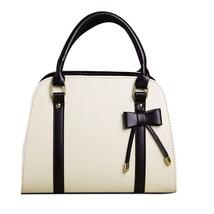 Women Leather Handbag Vintage Messenger Bag Black White Bow Crossbody Bag  - ₨3,058.06 INR