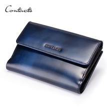 Women Genuine Leather Wallets Sapphire Blue Party Long Carteira Bifold D... - $52.46