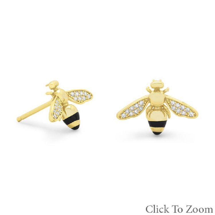 14 Karat Gold Plated Silver Signity CZ Bee Earrings