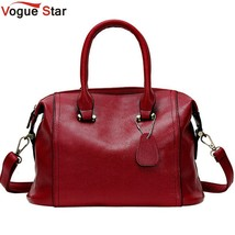 Womens Leather Boston Bag Boston Handbag Solid Color Cowhide Women Messe... - ₨3,600.25 INR