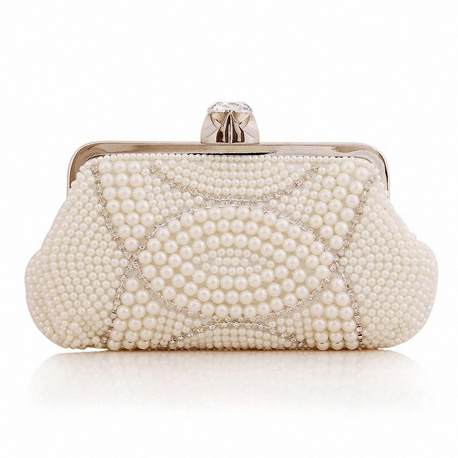 Used, bags Pearl diamond evenclutch bags s white bag Women Pearl Clutch party purses G for sale  USA