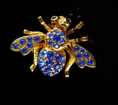 Joan rivers bee brooch blue rhinestone Insect pin Vintage Fly swarovski ... - $85.00