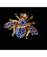 Joan rivers bee brooch blue rhinestone Insect pin Vintage Fly swarovski ... - $85.00