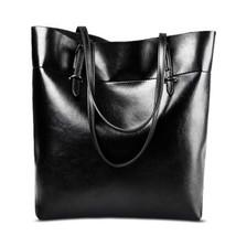 black shoulder bags big cowhide leather oil waxwomens bag genuine leathe... - ₨5,598.00 INR