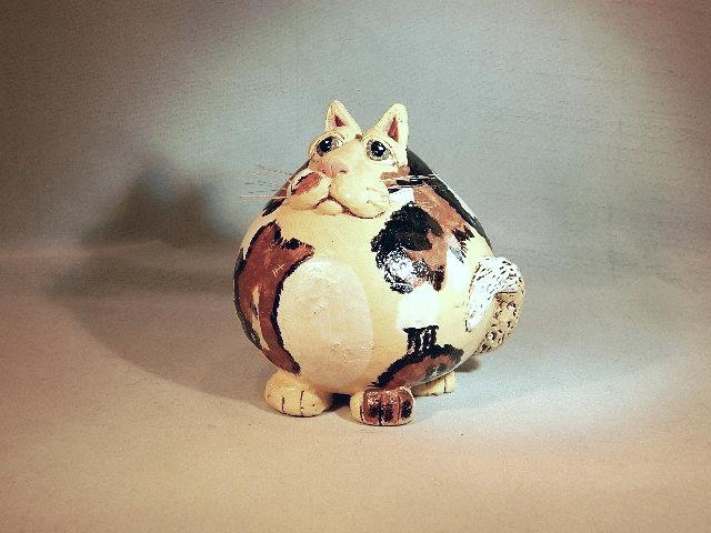 "Vicki Thomas Calico ""Fat Cat"" Ceramic Music Shaker - Very Unique & Useful Item!"