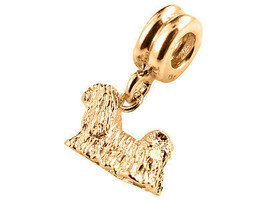 10K Yellow GOLD Handmade Shih-Tzu Dangle Charm Fits EUROPEAN BRACELETS - $123.75