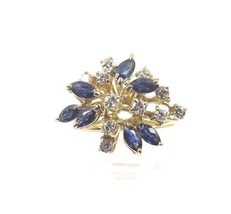 14k Yellow Gold Women's Cocktail Ring With Diamonds And Sapphire Stones - $279.57