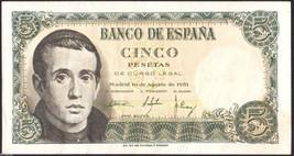 Spain 1951 , 5 Pesetas , Banknote VF+++ - $5.20