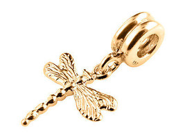 10K Yellow GOLD Handmade Dragonfly Dangle Charm Fits EUROPEAN BRACELETS - $132.17