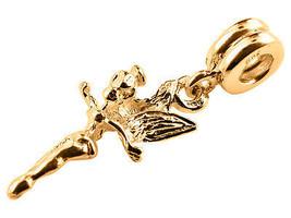 10K Yellow GOLD Handmade Tinker Bell Dangle Charm Fits EUROPEAN BRACELETS - $143.55