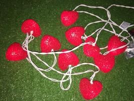 New Set Of Ten Valentine's Day Gel Heart Sparkle Lights White Wire - $9.89