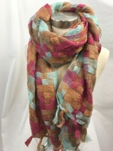 Light Blue, Pink and Beige Patchwork Long Tassel Scarf - $18.99