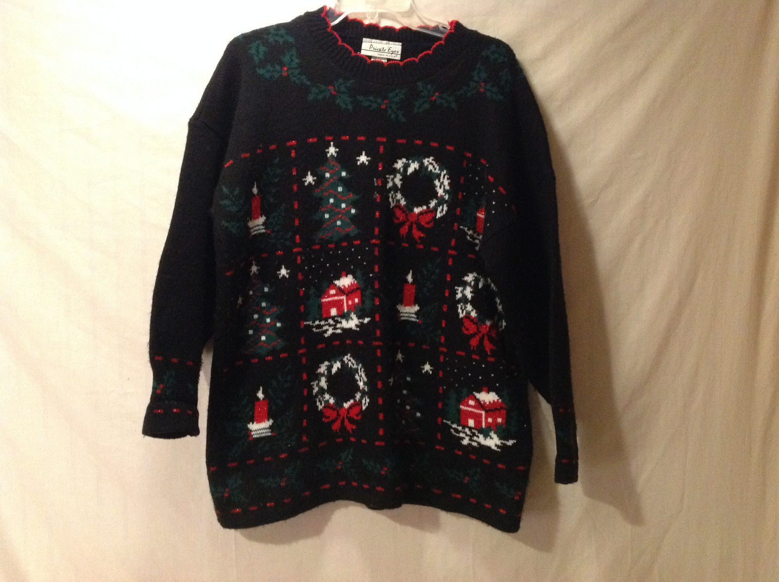 """Private Eyes Women's Size L """"Ugly"""" Sweater w/Christmas Wreath Holly Candles Snow"""