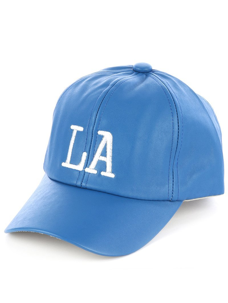 Quality Embroidered LA Los Angeles Adjustable Velcro Hat Cap Blue