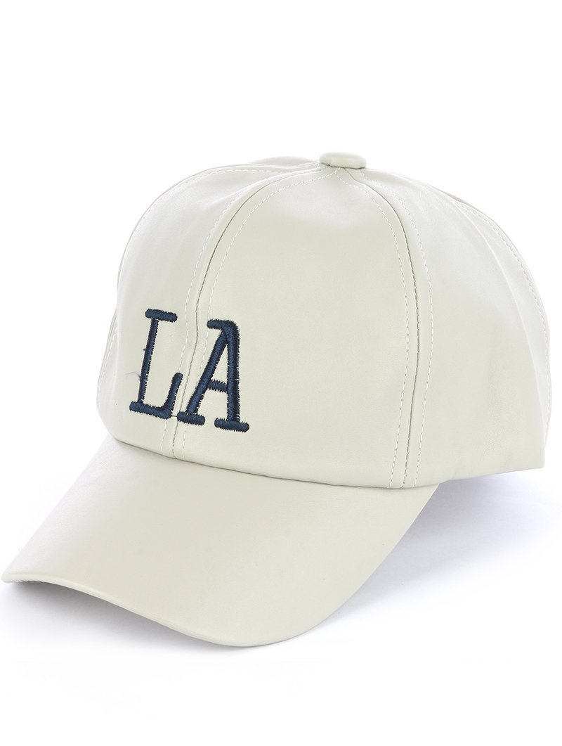Quality Embroidered LA Los Angeles Adjustable Velcro Hat Cap Gray