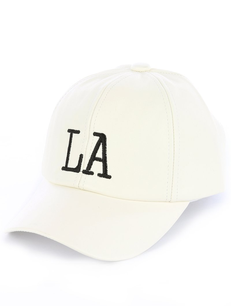 Quality Embroidered LA Los Angeles Adjustable Velcro Hat Cap White