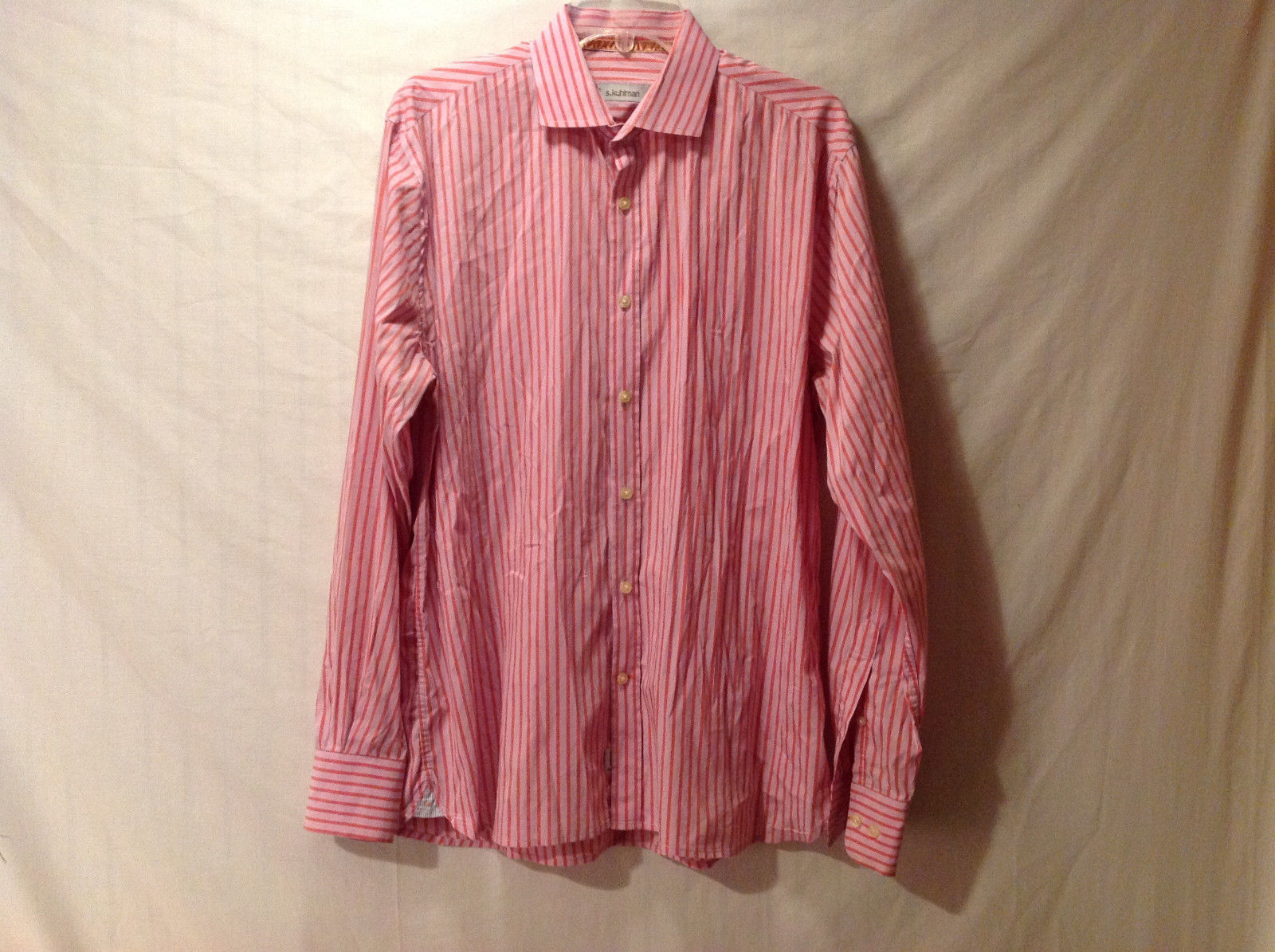 S. Kuhlman Men's EU Size 40 Button Down Shirt Pink Salmon Orange Vertical Stripe
